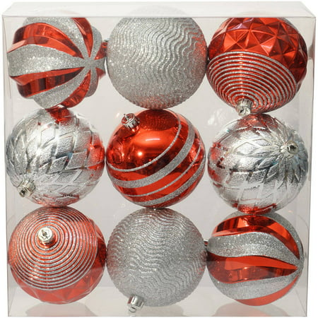 holiday time christmas ornaments traditional 100mm shatterproof set of 9 red silver - Red And Silver Christmas Ornaments