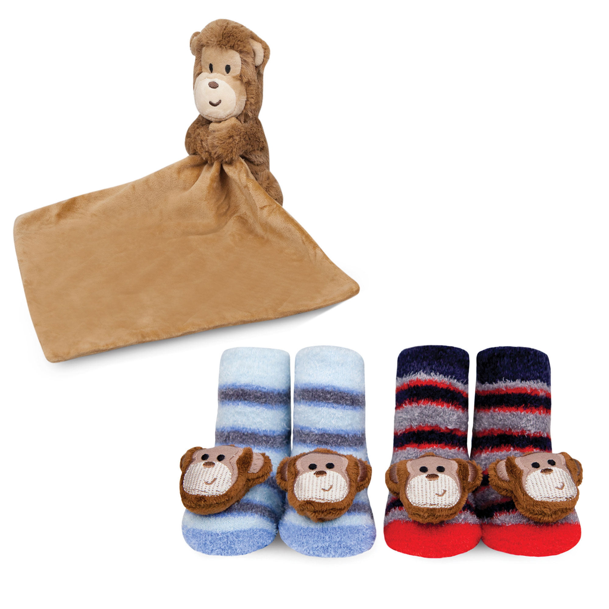 Waddle Baby Gift Set Plush Monkey Security Blanket and Newborn Rattle Socks by Waddle and Friends