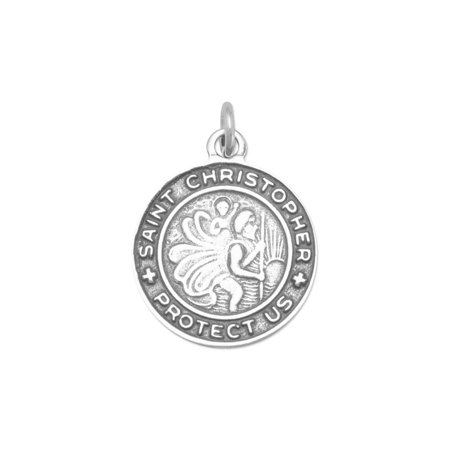 Saint Christopher Medal Round Charm or Pendant for Necklace Sterling Silver