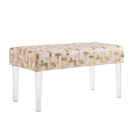 - Linon Stella Acrylic Leg Bench, Sequin Colorblock, 18 inch Height