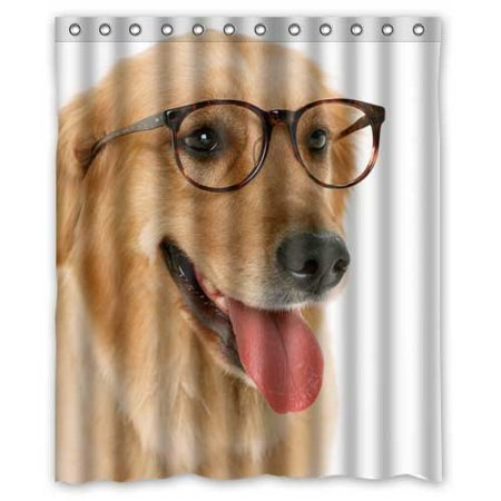 GreenDecor Dogs Retriever Animals Serious Glasses Dog Waterproof Shower Curtain Set With Hooks Bathroom Accessories Size 60x72 Inches