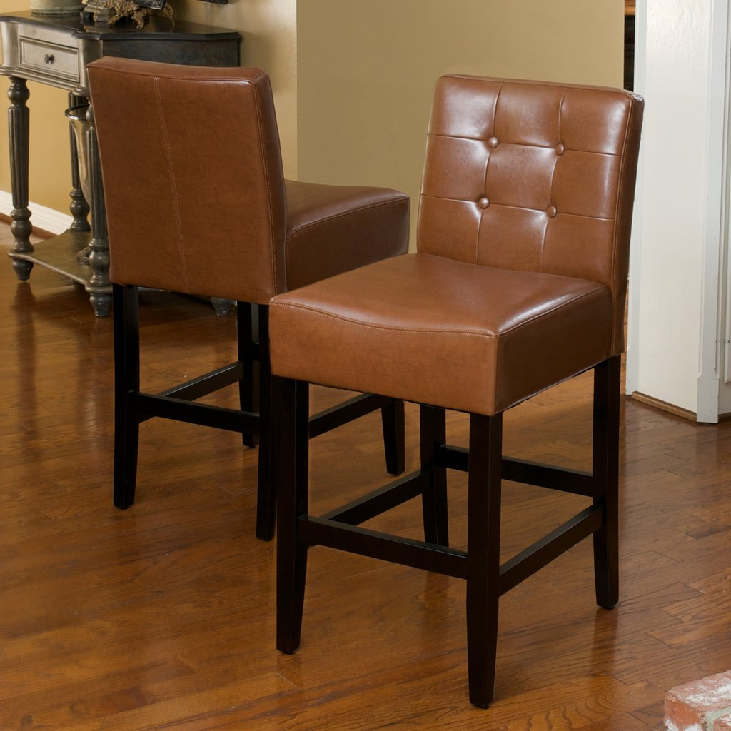Taft Tufted Leather Counter Stools (Set of 2)