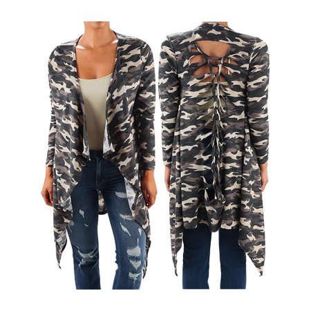 Funfash Plus Size Women Camo Black Kimono Braided Duster Cardigan Long Sweater