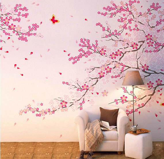 Misshow Pink Cherry Blossom Wall Decal Flower Wall Sticker For Living Room