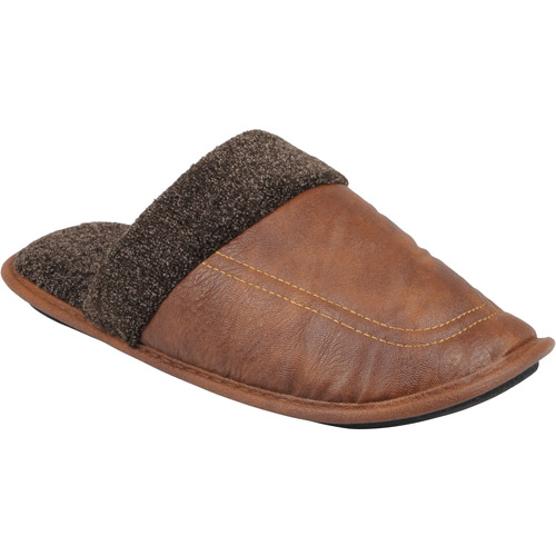 Daxx Mens Faux Leather Scuff Slippers