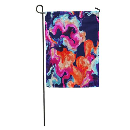 LADDKE Colorful Paint Abstract Watercolor Curved Shape Minimal Hand Wavy Blot in Neon Colors Marble Garden Flag Decorative Flag House Banner 12x18 - Hand Painted Curved