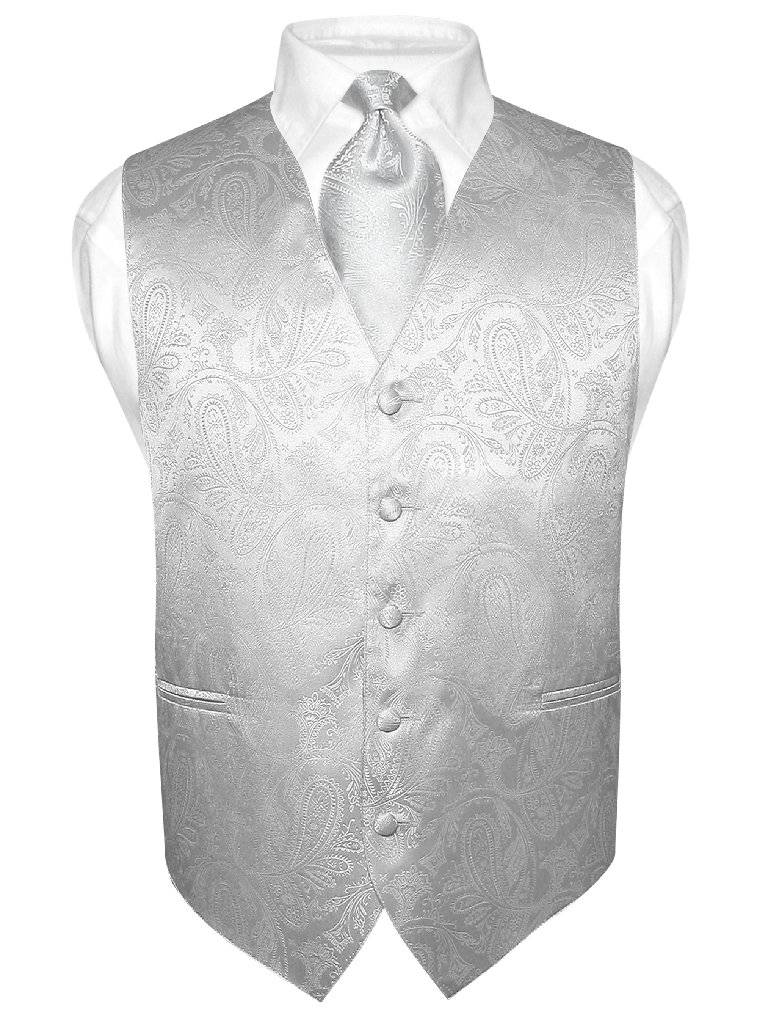 Men's Paisley Design Dress Vest & NeckTie SILVER GREY Color Gray Neck Tie Set
