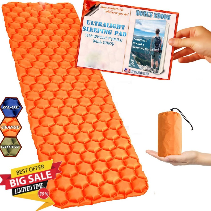 Air Sleeping Pad - Inflatable Camping Mat,Ultra-Compact folding Camping, Hiking, Backpacking and Traveling Orange