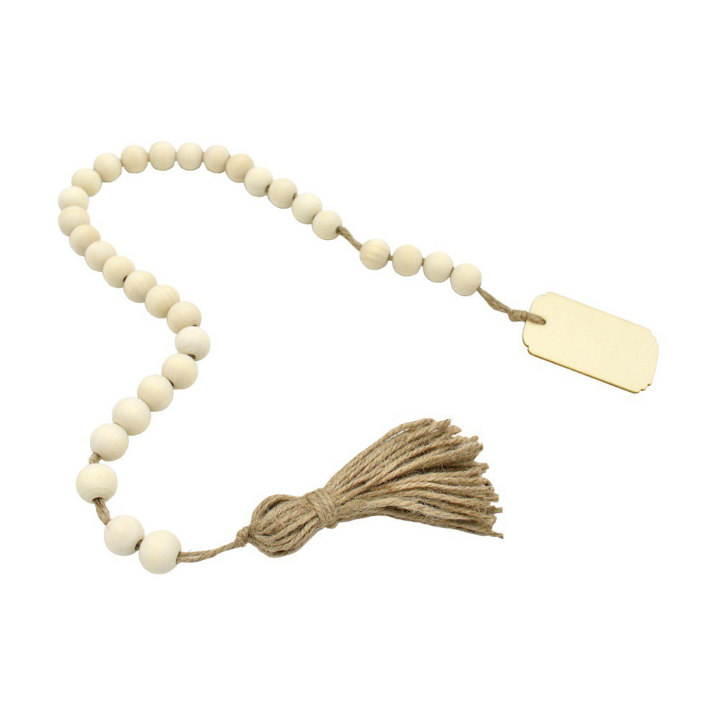 Aimik Wood Bead Garland With Tassels And Diy Tag Home Beads Vintage Kids Home Decor Walmart Com Walmart Com