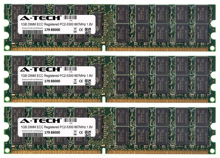 3GB Kit 3x 1GB Modules PC2-5300 667MHz 1.8V ECC Registered DDR2 DIMM Server 240-pin Memory Ram