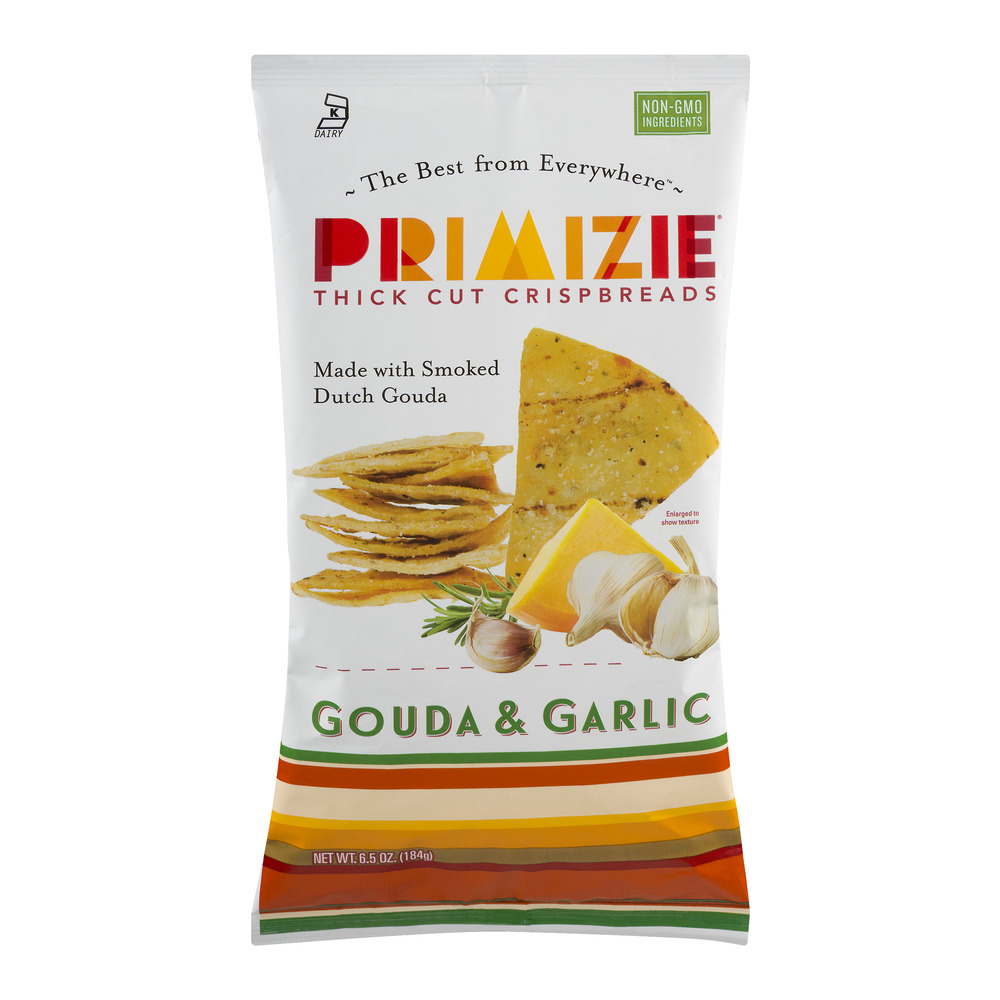 Primizie Thick Cut Crispbreads Gouda & Garlic, 6.5 OZ by Piadina, Inc.