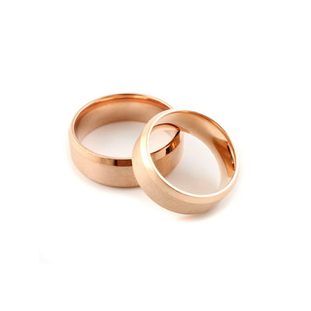 Mens Rose Gold 8MM Titanium Band Rings with Beveled Edges Brushed Classy (Rose Titanium)