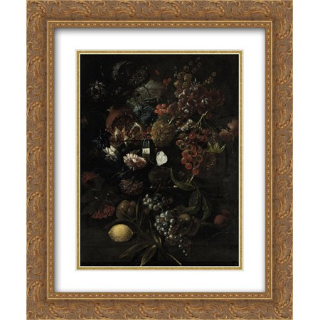 Mario Nuzzi 2x Matted 20x24 Gold Ornate Framed Art Print 'Various flowers in a glass vase with blue grapes, peaches and a lemon, all on a (Gold Frame Polo Glasses)