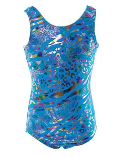 Reflectionz Little Girls Turquoise Shimmer Leopard Pattern Tank Leotard 4-6