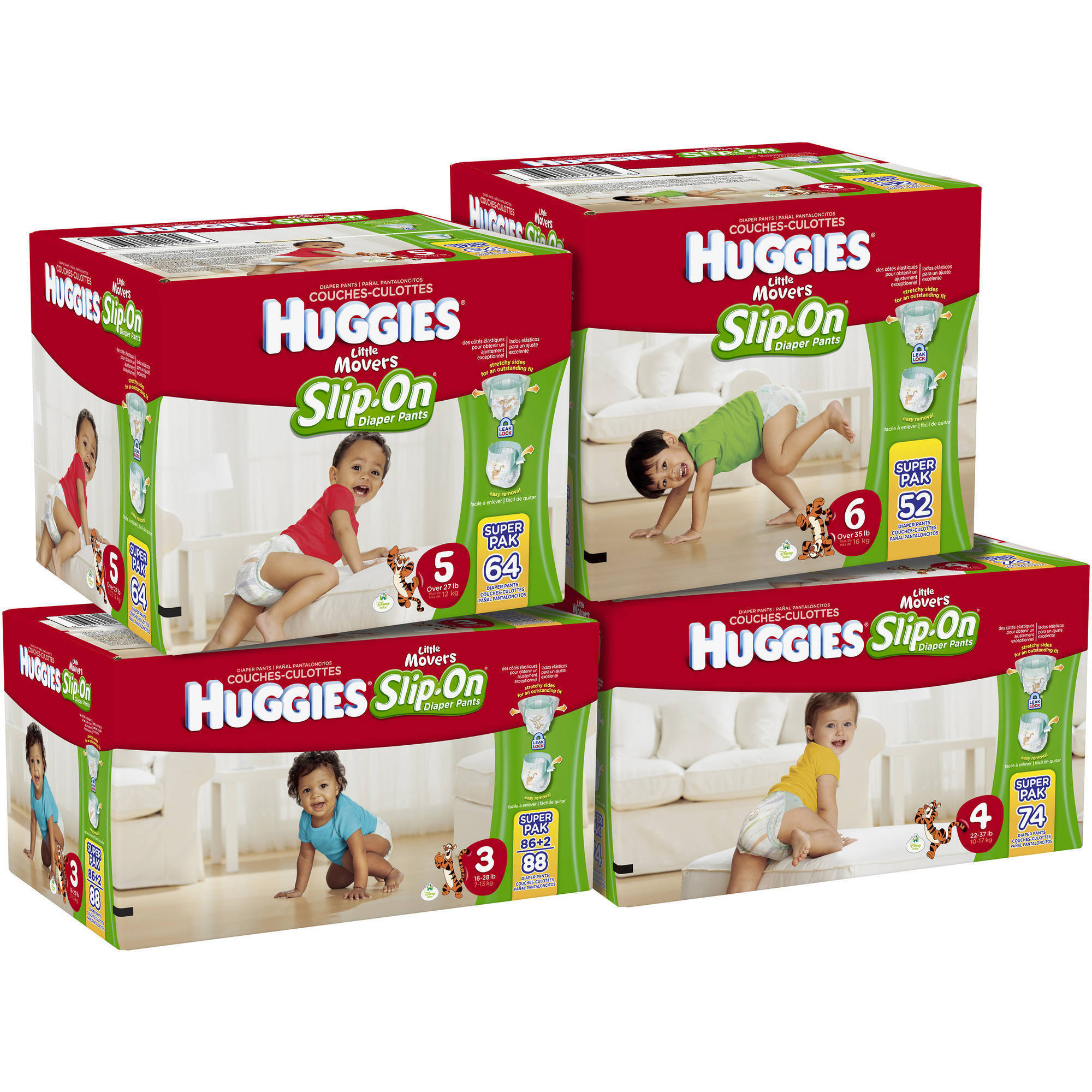 HUGGIES Little Movers Slip-On Diaper Pants, Super Pack (Choose Your Size)