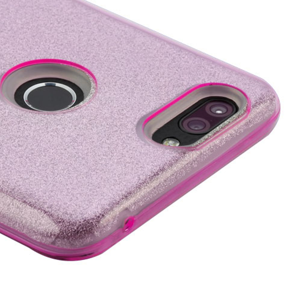 ZTE Blade Z Max Case, ZTE Sequoia Case, by Insten Glitter Dual Layer Hybrid PC/TPU Rubber Case Cover for ZTE Blade Z Max/Sequoia - Pink - image 1 of 3