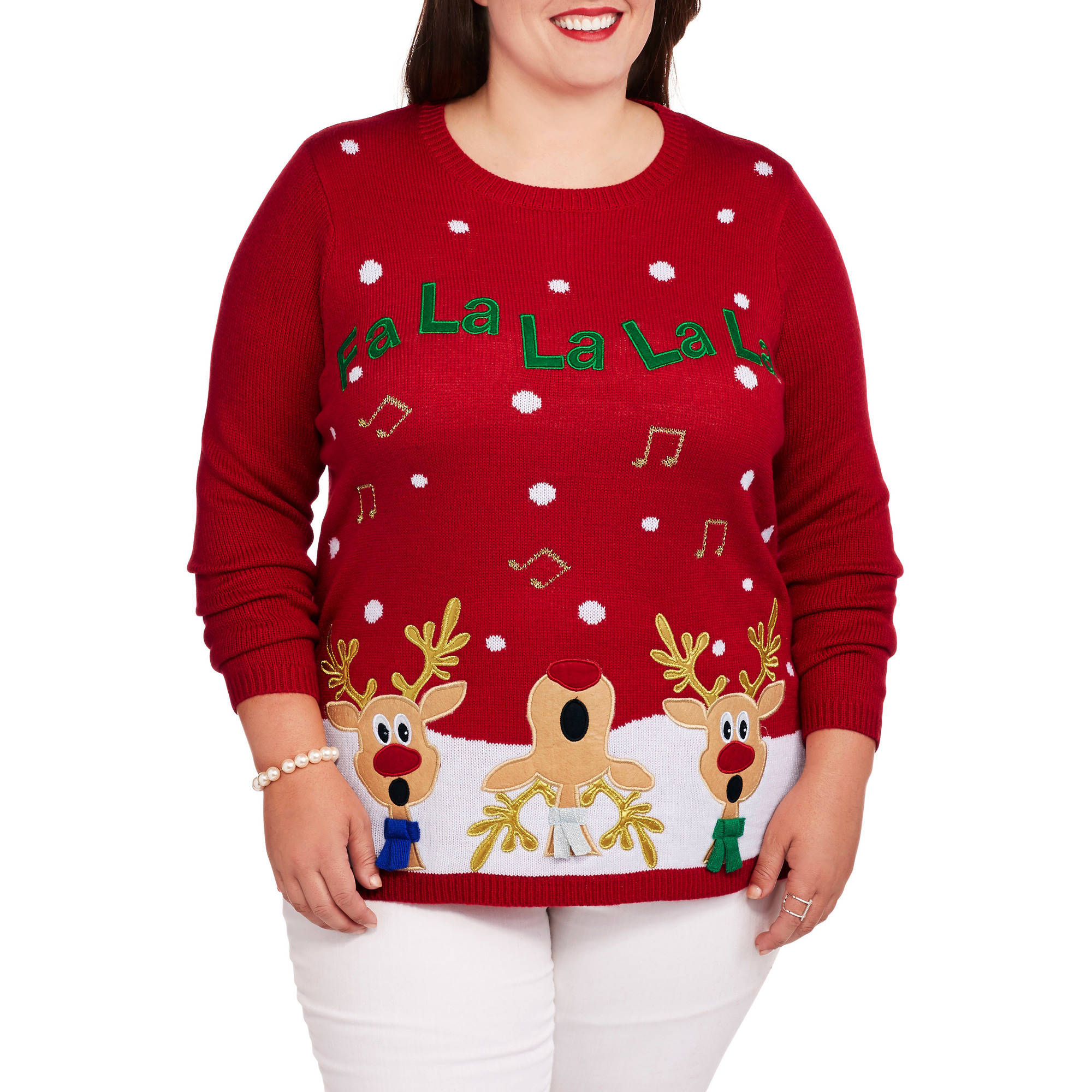 "Holiday Time Women's Plus Christmas Sweater with Sound - ""SINGING REINDEER"""
