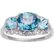 Sterling Silver Cassiopiea and Blue Topaz 3-stone Ring Size 9