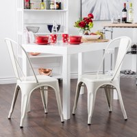 """GHP 2-Pcs White 21""""Lx18""""Wx34""""H Heavy Duty Steel Vintage Style Armless Dining Chairs"""