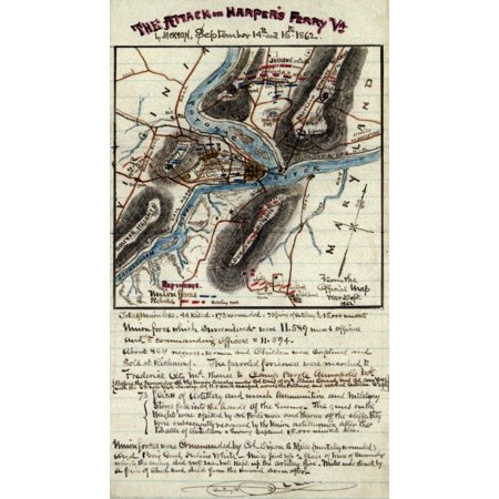 The Attack On Harpers Ferry Va By Jackson September 14Th And 15Th 1862  Area Of Convergence Of The Potomac And Shenandoah Rivers That Marks The Border Of Maryland Virginia And West Virginia Details In