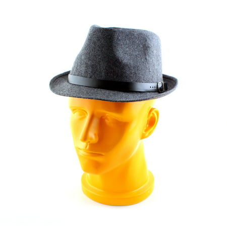 Gray Vintage Soft Mens Wool Felt Wide Bucket Cap Brim Bowler Cloche Hat