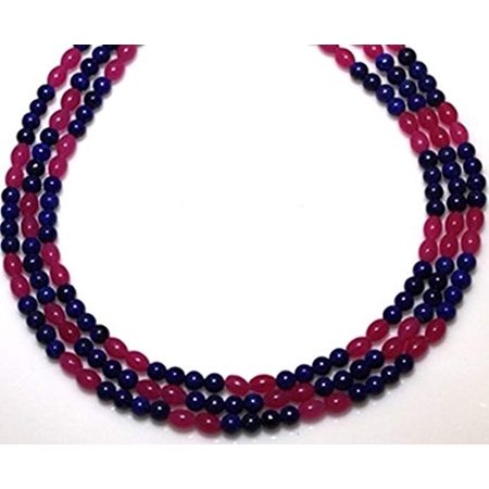 Long Three Strand (lapis Necklaces 3 Strands 8mm Agate and Lapis Beads Beaded Necklace 17