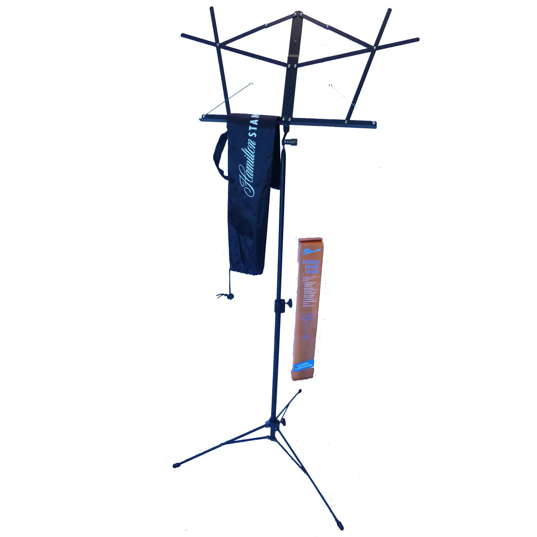 Hamilton Dlx Folding Music Stand w Bag Black by Hamilton Stands