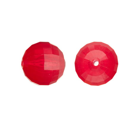 Acrylic Beads, Faceted Round, Semi-Transparent Red, 18mm Sold per pkg of 29 (18mm Facet Round Beads)
