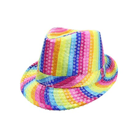 Rainbow Striped Sequin Fedora Hat - Sequin Fedora