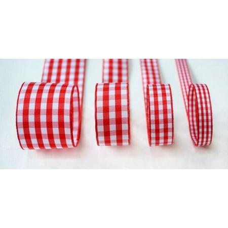 Ribbon Bazaar Taffeta Gingham Check 3/8 inch Red 25 yards Ribbon ()