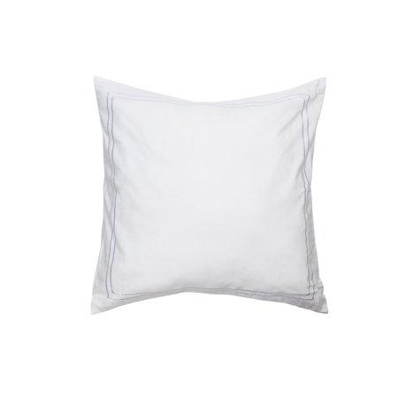 Single (1) 100% Cotton Pure White Euro/Square Size Pillow Sham: Decorative Baratta Stitch 26in x 26in (White)