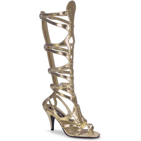 Womens Gladiator Sandals Gold Shoes 3 1/2 Inch Heel Snake Skin Costume Boots