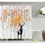 Deer Decor Shower Curtain Set, Deer In Forest Autumn Golden Colors Trees Foliage Wilderness Seasonal Artwork, Bathroom Accessories, 69W X 70L Inches, By Ambesonne