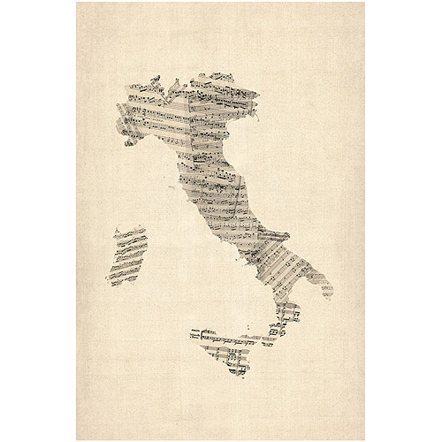 "Trademark Art ""Italy    Old Sheet Music Map"" Canvas Art by Michael Tompsett"