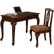 Traditional Queen Anne Writing Desk and Chair Value Bundle, Oak