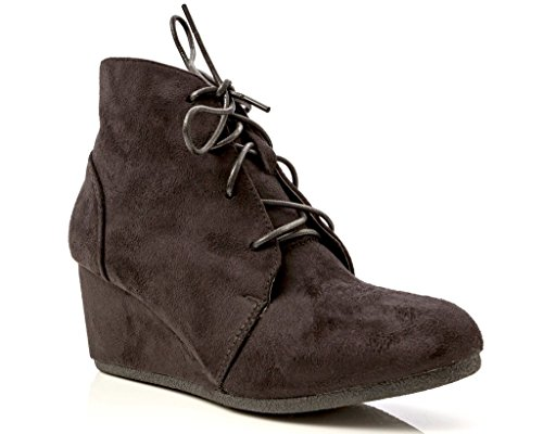 Charles Albert Women's Brushed Suede Lace-Up Wedge Ankle Booties in Black Size: 10