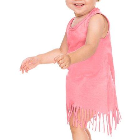 Cool Boys Dress (Kavio! Infants Sheer Jersey Raw Edge Fringe Asymmetrical Tank Dress Flamingo)