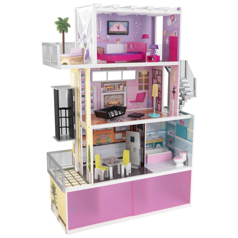 "KidKraft Wooden Beachfront Mansion w 14 Furnitures Kids' Doll House for 12"" Doll"