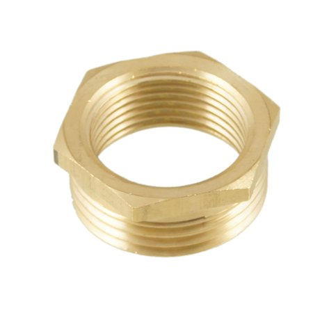 "Unique Bargains PT 1"" Male to 3/4"" Female Hex Busing Pipe Fitting Connector Gold Tone"