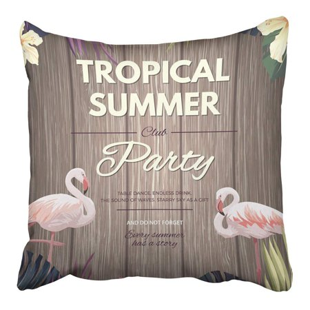 ARHOME Colorful Bright Hawaiian Design with Tropical Plants and Hibiscus Flowers Green Pillowcase Cushion Cover 16x16 inch