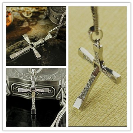 The Fast and the Furious Inspired Silvery Foldable Cross Rhinestone Necklace Pendant for Men, make you unique style, So attractive