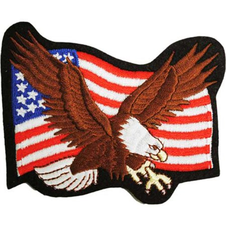 - Flying Blad Eagle With American Flag Patch