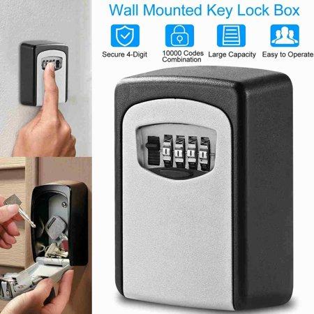 Safe Key Storage Lock Box 4-Digit Combination Home Security Wall Mount Password Keys (Best App To Keep Passwords Safe)