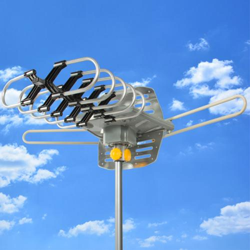 HDTV Rotor Remote Outdoor Amplified Antenna 360° UHF/VHF/FM HD TV 150 Miles