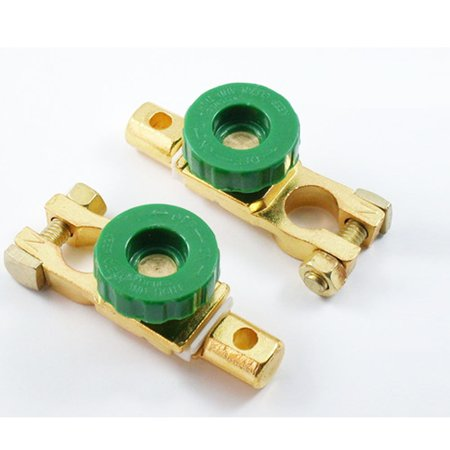 2 Auto Battery Link Terminal Quick Cutoff Disconnect Master Kill Switch Brass !!