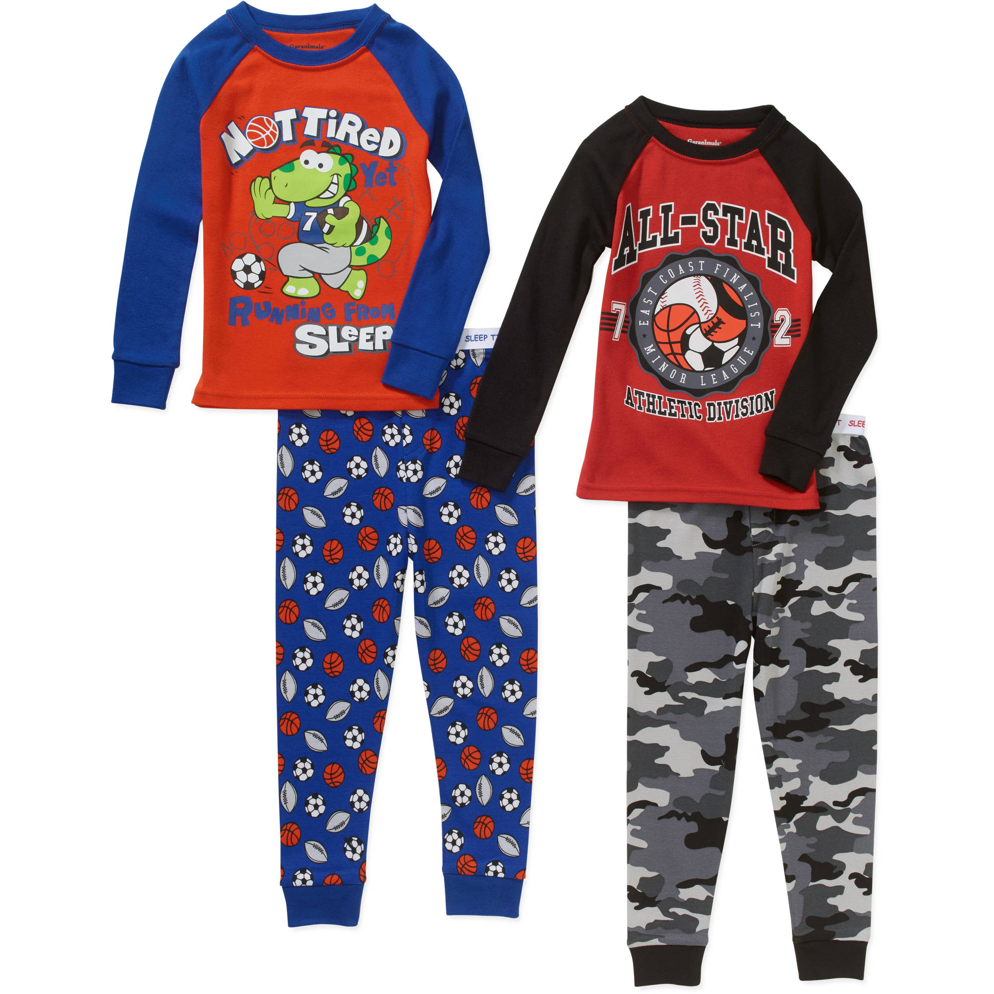 Garanimals Baby Toddler Boy Cotton Tight Fit Pajamas, 2-Sets