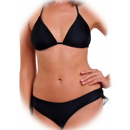 FITTOO Swim Brazilian Bikini Push Up Top String Bottom Triangle Swimsuit Padded Swimwear