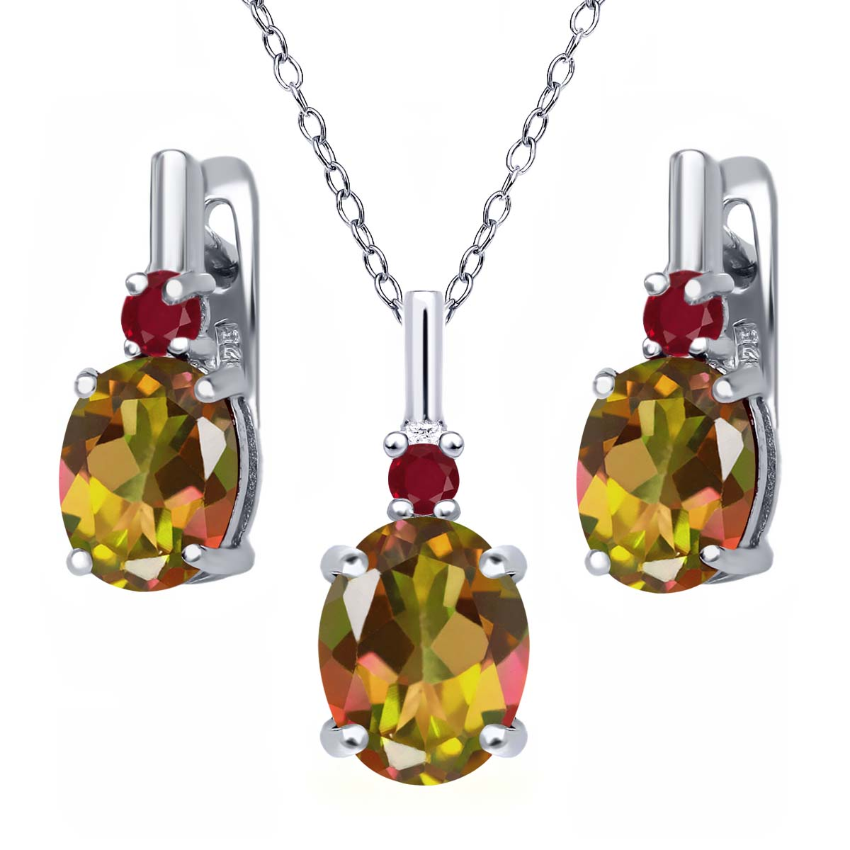 7.02 Ct Oval Mango Mystic Topaz Red Ruby 925 Silver Pendant Earrings Set by