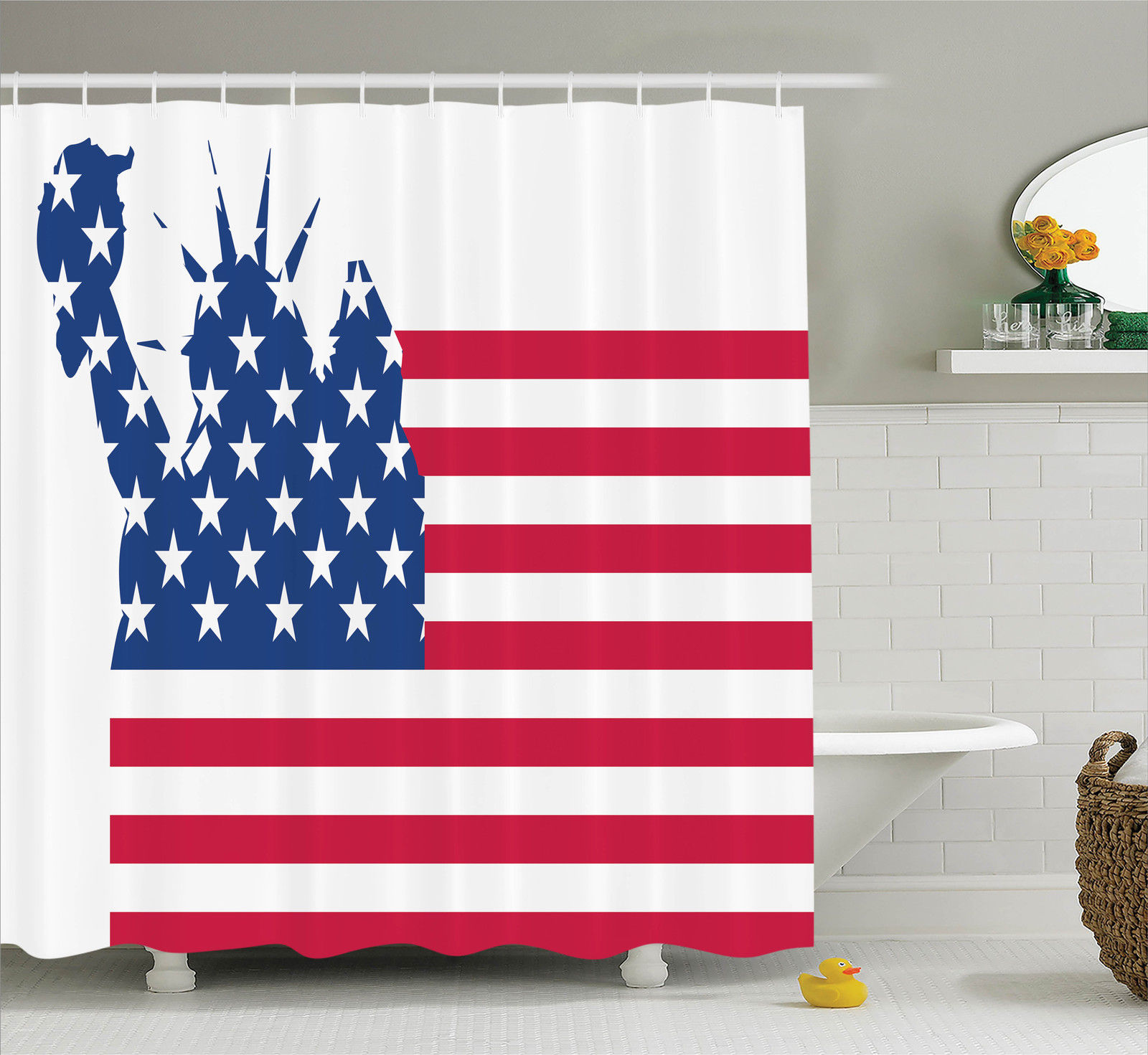 Nyc Decor  Statue Of Liberty On Flag Silhouette Of Univer...