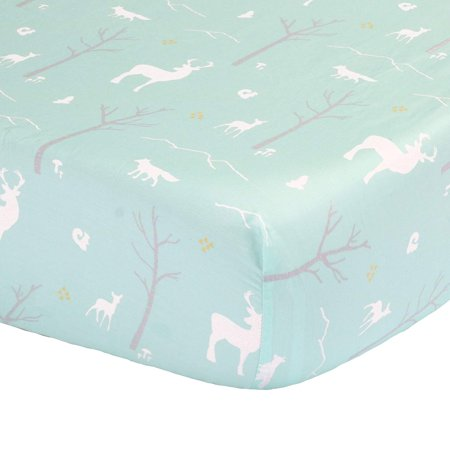 Mint Green Woodland Print Fitted Crib Sheet - 100% Cotton Baby Girl and Boy Forest Animal Theme Nursery and Toddler Bedding, This Peanut Shell.., By The Peanut (Baby Boy Girl Bedding)